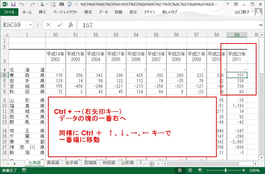 Excel Cntlと矢印キーで 行きたい方向へ